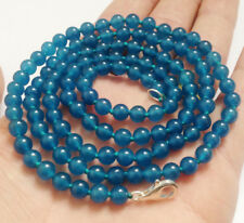 Natural 6mm Blue Apatite Round Gemstone Beads Long Necklace 36'' AA