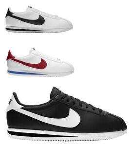 New Nike Men's Cortez Basic Leather 819719 Black White Red Size 7-12