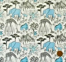 ANIMAL PARENTS & BABIES BLUE ON WHITE BY LEWIS & IRENE - COTTON FABRIC FQ'S