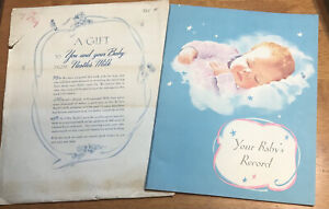 """1946 Your Babies Record Book With Orig Envelope Bright Color! 9 X 11"""" #PW183"""