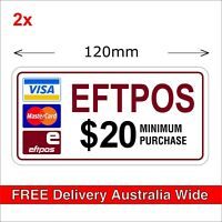 EFTPOS $20 Minimum Purchase Stickers MasterCard Visa Payment Transfer, 120mm