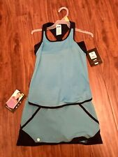 Girls Outfit Size 7/8, Athletic Set, Skort, Tank, Bra, Avia, Teal, Navy, Medium