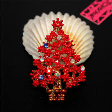 Tree Enamel Rhinestone Woman Brooch Pin New Betsey Johnson Red Shiny Christmas