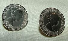Pair 1953 Queen Elizabeth English Farthing COIN Screwback Earrings Coronation