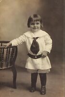 Vintage Old 1910's Photo of Little Girl or Boy Wearing a Great Outfit Fashion