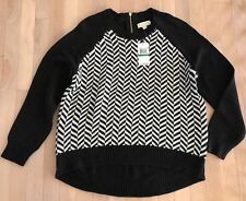 Michael Kors Sweater Two-Tone Thick Cable Knit Geometric Black Large NWT $110
