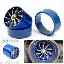 55mm Blue Car Air Intake Fuel Gas Saver Single Fan Engine Enhancer Turbo Charger