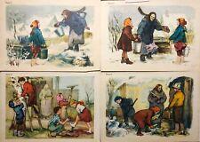 1950s Russian Illustration Children Help Granny Babushka Posters 4 pcs