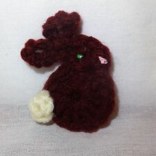Vintage Crochet Easter Bunny Rabbit Holiday Pin Brooch Handmade Brown White Tail