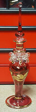 """STUNNING EGYPTIAN CRYSTAL / GLASS ART DECO """"RUBY RED & GOLD"""" PERFUME BOTTLE"""