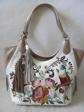 $260 SHARIF WHITE FLOWER & PARROT LEATHER EMBROIDERED SHOULDER BAG PURSE - NWT