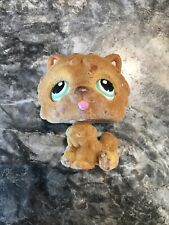 Littlest Pet Shop Tan Fuzzy Chow Chow # 332 Blue Green Eyes Dog brown flocked