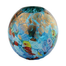 "New 6"" Hand Blown Glass Art Vase Blue Italian Millefiori Multicolor Decorative"