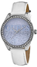 Guess Women's Glitter Girl Quartz Stainless Steel/White Leather Watch W0823L1