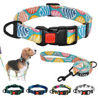 Nylon Dog Collar and Leash Set for Small Large Dogs Walking Training Rope S M L