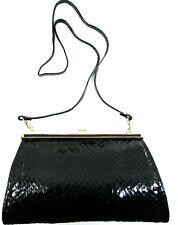 Women VTG Snake Skin Shoulder Bag Black Metal Trim 18 Inch Strap Drop