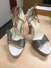 Stella McCartney Womens Cream Lace and Rhinestone Heels Sandal $425+ 11
