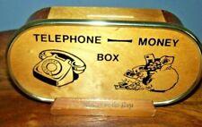 Vintage Retro Wooden Telephone Money Box 1960s 70s (D3)