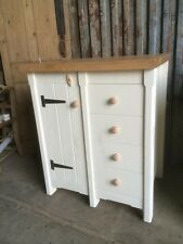 Rustic Wooden Pine Freestanding Kitchen Handmade Drawers + Cupboard Oak Top