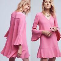 $138 Anthropologie HD IN Paris Women's 14 Pink Bell Sleeve Carissa Tunic Dress