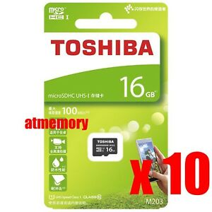 10x Toshiba 16GB Micro SD SDHC 16G Memory Card 100MB/s C10 Retail Lot of 10pcs