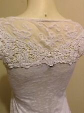 AMERICAN DREAM WHITE SCOOP NECK SHEER BACK LACE KNIT TOP BLOUSE SIZE S