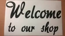 welcome to our shop hairdressers beauty salon barbers window sign vinyl sticker
