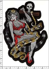 "2 Pcs Big Embroidered Iron on patch Lady with Skull Punk Style 5.5""x7.9"" AP021U"