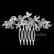 Bridal Flower Wedding Tiara Silver Diamante Crystal Rhinestone Hair Comb Clip