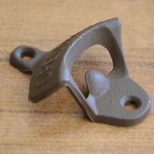 Open Here Cast Iron Cool Wall Mount Bottle Opener Western Rustic Brown New To