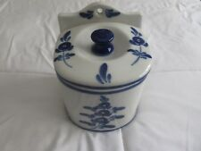 Antique Hand Painted Salt Box Pottery Ceramic Made In Portugal