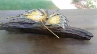 Vintage Mid Century Modern Brass Butterfly Driftwood Sculpture Signed