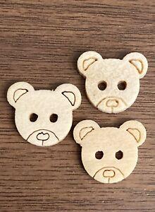 Teddy Bear Wooden Buttons 11mm X 13mm 10pcs