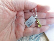 925 Sterling Silver 3 drop Changbai Peridot Pendant & 24in Chain