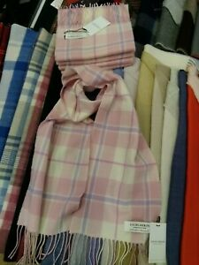 100% Lambswool Scarf by Lochcarron   Pink White Check   Made in Scotland