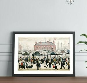 Market Scene Northern FRAMED WALL ART PRINT PAINTING Artwork LS Lowry Style