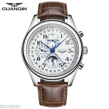 GUANQIN Genuine Leather Mens Auto Mechanical Wrist Watch Business Wristwatch NEW