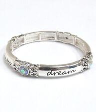 Inspirational  Stretch Bracelet Love Joy Happiness Dream iridescent Crystals