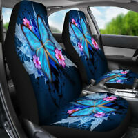 Universal Front Car/Van Seat Covers Protectors Blue Butterfly Printing