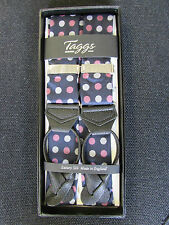 Taggs 100% silk braces navy with spot pattern pattern, leather end .