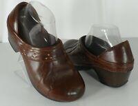 Womens Dansko Brown Leather Comfort Nursing Clogs Shoes Size 9 US 39 EUR