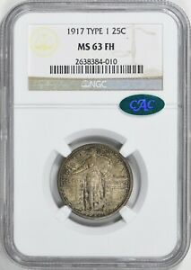 1917 25C Type 1 Standing Liberty Quarter, NGC MS 63 FH, Toned