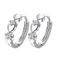 Women Silver Round Crystal Heart Hoop Ear Stud Earrings Bridal Wedding Jewelry