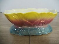 Vintage Royal Copley Pink Yellow & Blue Lotus Flower Planter *Very Nice*