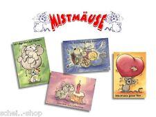 Postkarten-Set - Mistmäuse - 11 Stück - z.B. Geburtstag, Abschied, Liebe  Maeuse