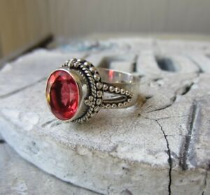 Bali Collection Sterling Silver Padparadscha Sapphire ? Gemstone RING SZ 9
