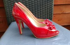 WORN ONCE LADIES RED PATENT LEATHER PLATFORM COURT SHOES BY PETER KAISER SIZE 8
