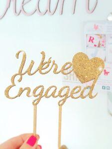 We're Engaged Cake Topper, Wooden Wedding Cake Topper, Engagement Cake Topper