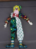 """GANZ Vintage Clown Doll W Porcelain Head Feet And Hands-Jointed-13""""-Happy Face"""