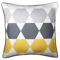 "Geometric Cushion Grey Mustard Yellow Throw Pillow Case Sofa Cover UK 45cm 18"""